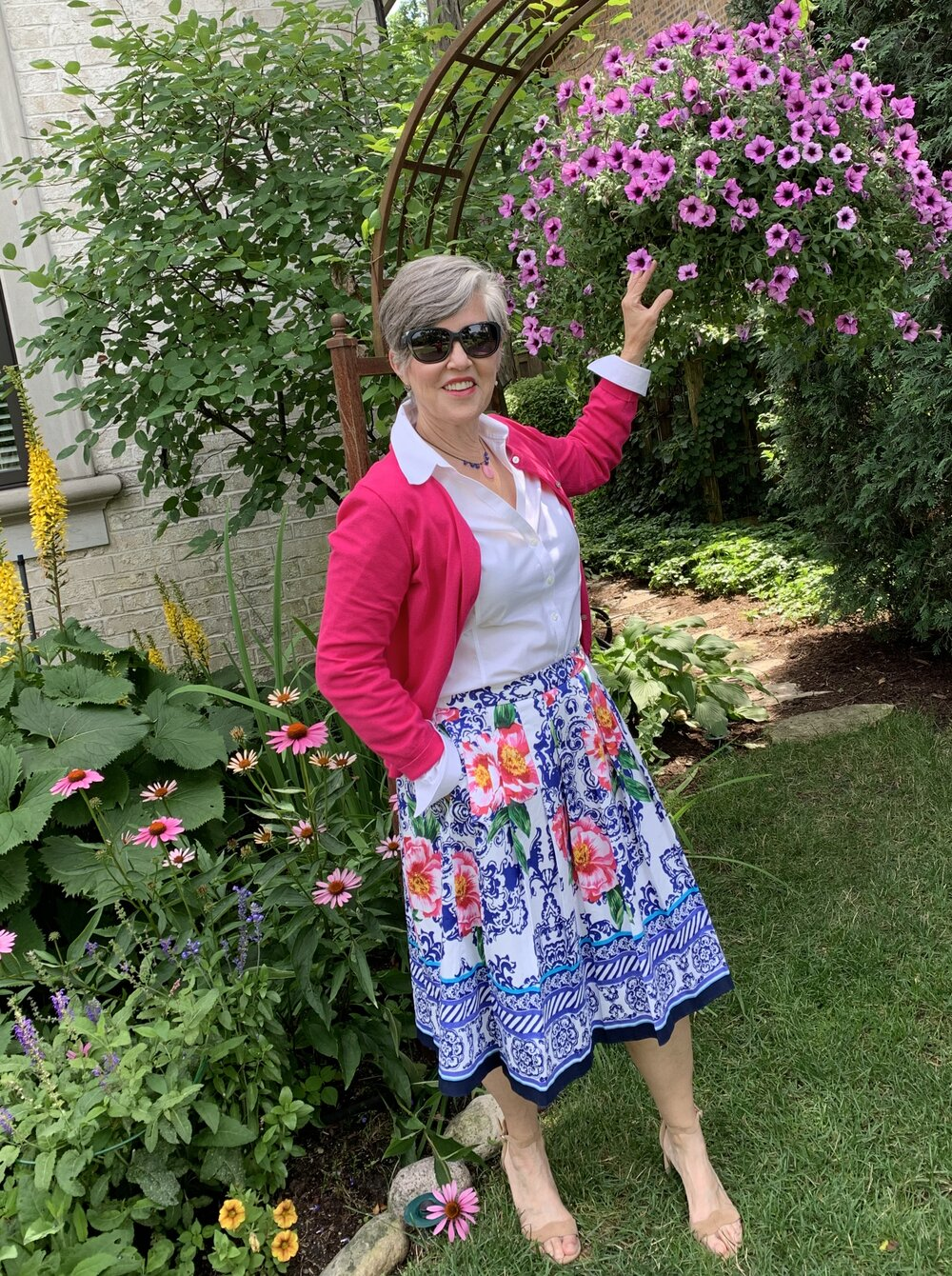 Isn't this a great fit and flare skirt?  I love it with the blouse and cardigan.  Check out my blog (Drjuliesfunlife) for details.