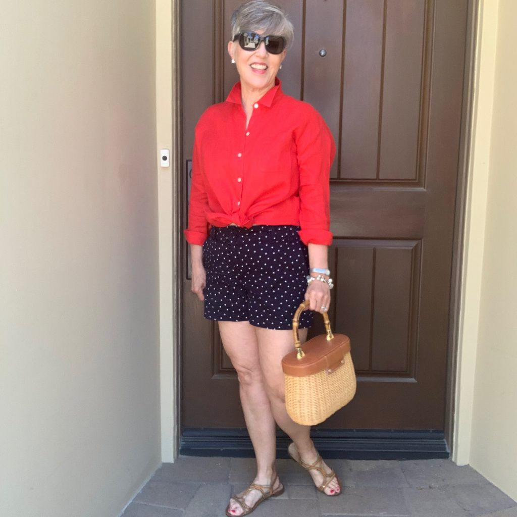 Red linen button down shirt with blue and white polka dot shorts for the perfect red, white and blue outfit!
