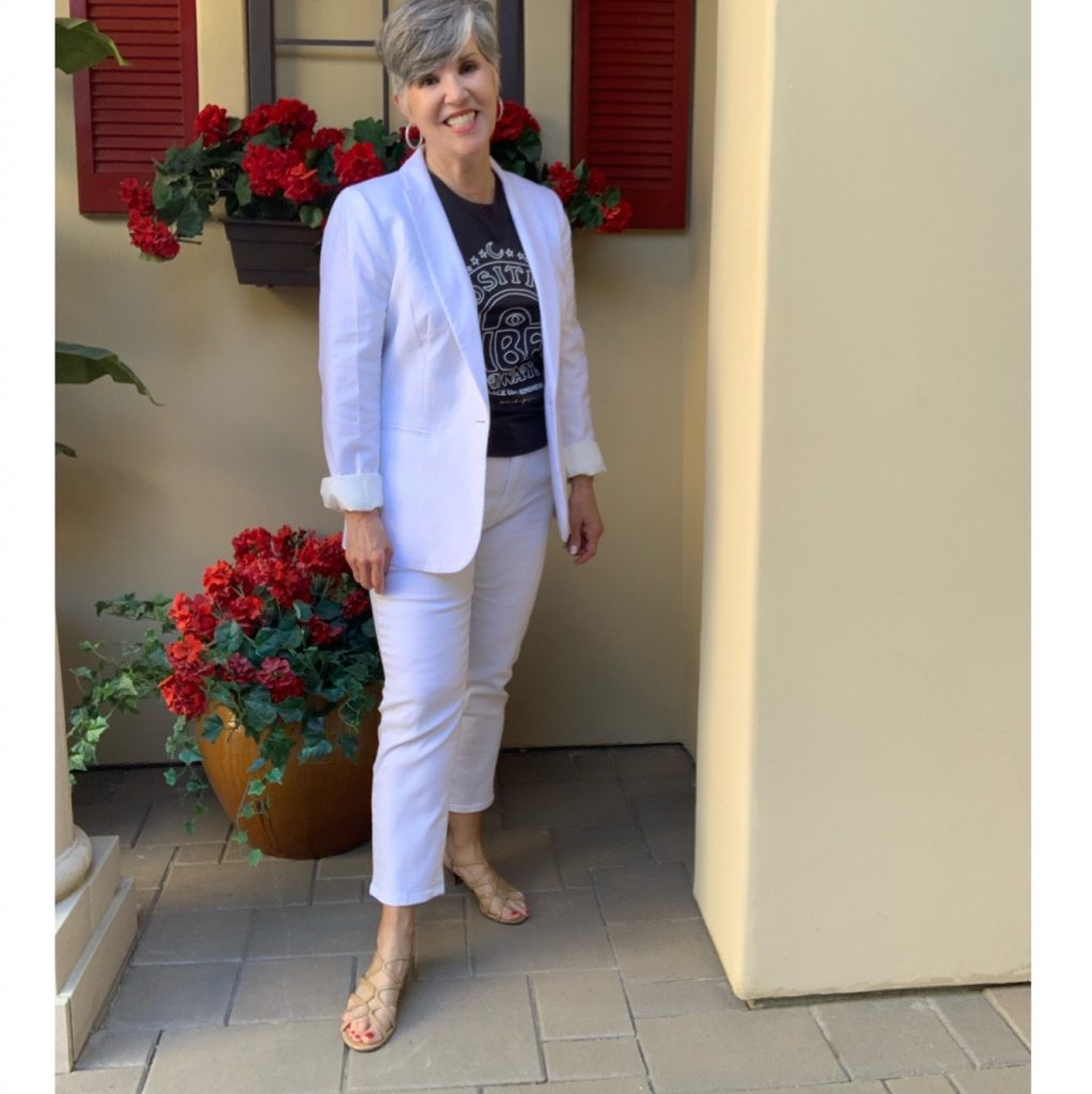 """white linen jacket, white jeans and a fun graphic tank with a message' """"positive vibes only""""!"""