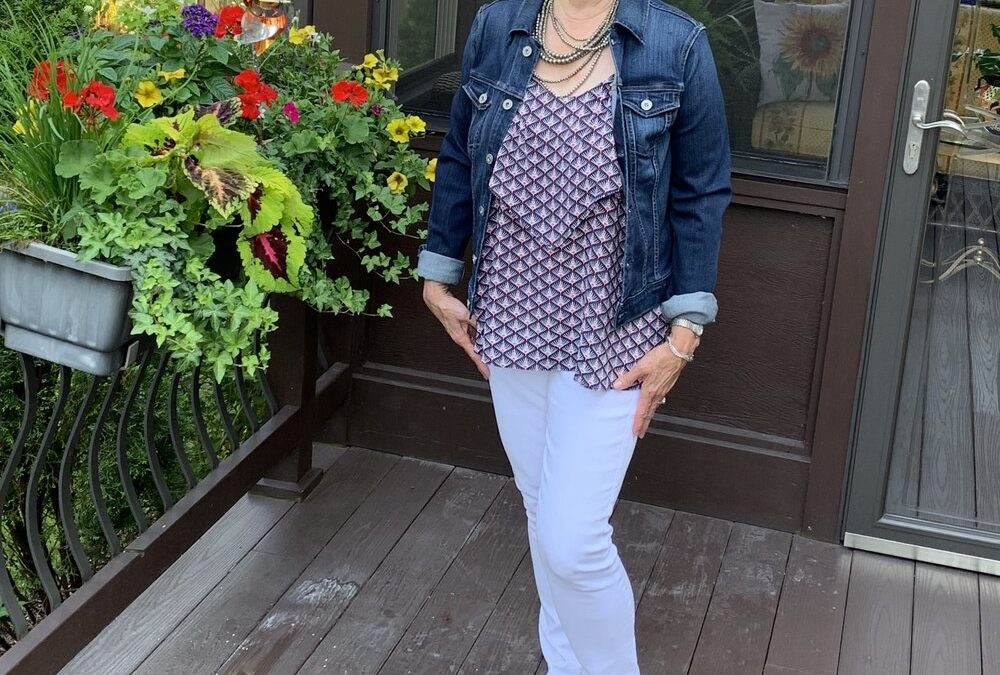 A Jean Jacket and White Jeans